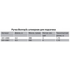 """Ручка к подсачеку штекерная """"Волгаръ"""" 4.0м (4 секции)"""